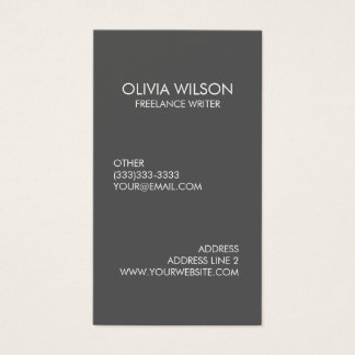 Professional Plain Grey Refined Business Card