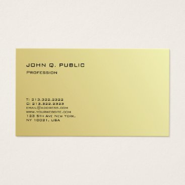 Beach Themed Professional Plain Modern Gold Look Semi Gloss Business Card