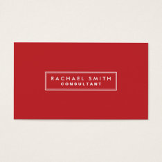 Professional Plain Red Elegant Real Estate Business Card at Zazzle