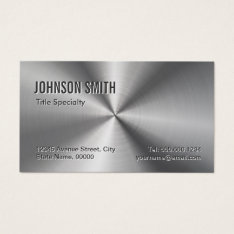 Professional Plain Sliver Radial Metallic Look Business Card at Zazzle