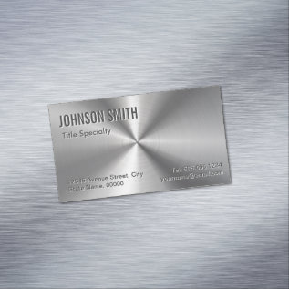 Professional Plain Sliver Radial Metallic Look Business Card Magnet at Zazzle