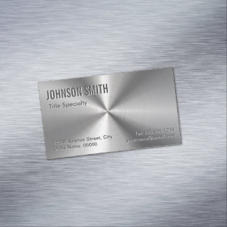 Professional Plain Sliver Radial Metallic Look Business Card Magnet