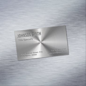 CardHunter Professional Plain Sliver Radial Metallic Look Business Card Magnet