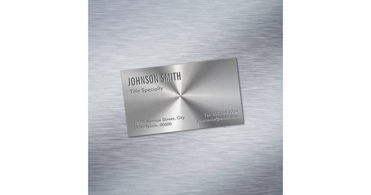Professional Plain Sliver Radial Metallic Look Business Card ...