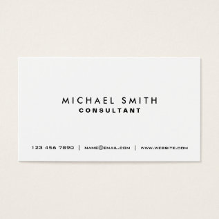 Professional Plain White Elegant Modern Simple Business Card at Zazzle