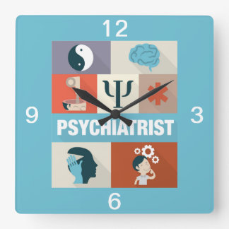 Professional Psychiatrist Iconic Designed Square Wall Clock