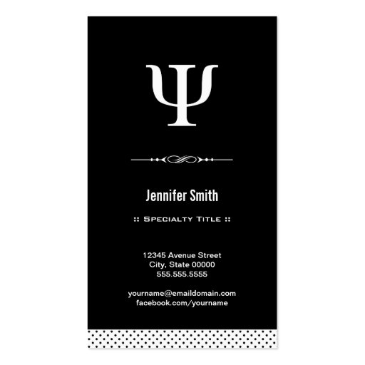 Professional Psychologist - Psychology Psi Symbol Business Card Template