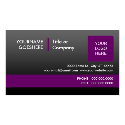 professional purple 2 sided business card