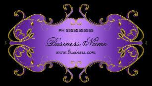 Purple Black Gold Business Cards Zazzle