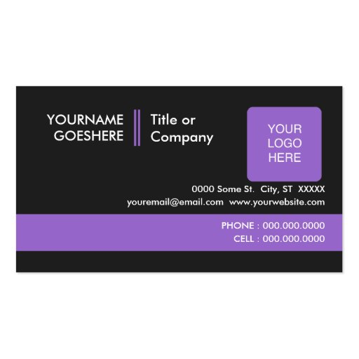 professional purples 2 sided business card