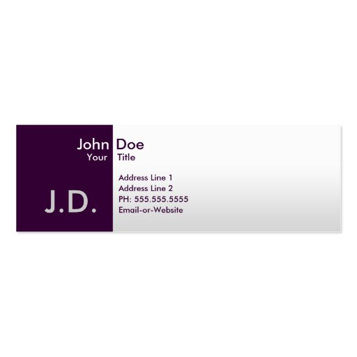 professional purples Double-Sided mini business cards (Pack of 20)