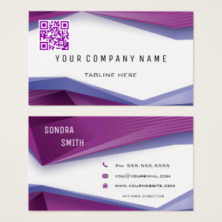 Professional QR Code BOLD Plum Geometric Lines Business Card