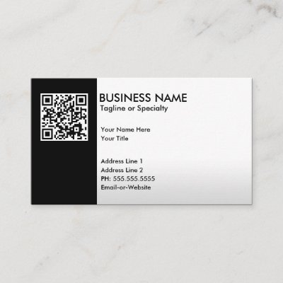 black and white qr code on bold design business card zazzlecom - Qr Code Business Card