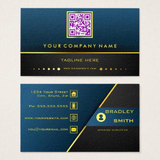 Professional QR Code Gradient Blue and Gold Business Card