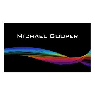 Professional Rainbow Wave Business Card Black