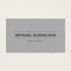 Professional Real Estate Agent Gray Linen Business Business Card at Zazzle