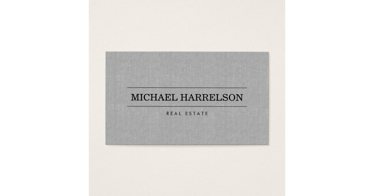 Professional Real Estate Agent Gray Linen Business Business Card ...