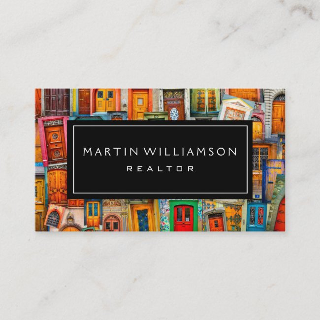 Professional Real Estate Modern Classic Doors Business Card