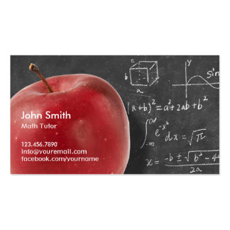 Professional Red Apple & Chalkboard Math Tutor Double-Sided Standard Business Cards (Pack Of 100)