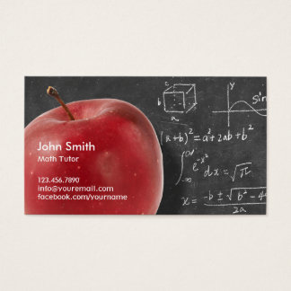 Professional Red Apple & Chalkboard Math Tutor Business Card