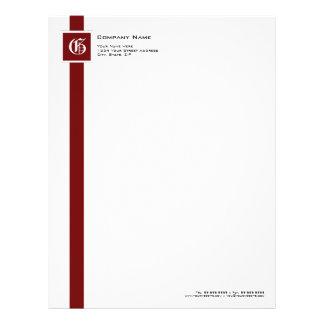 Professional Red, Black & White Stripe Monogram Letterhead