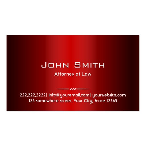 Professional Red Metal Attorney Business Card