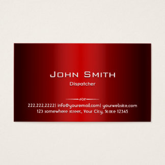 Professional Red Metal Dispatcher Business Card
