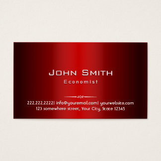 Professional Red Metal Economist Business Card