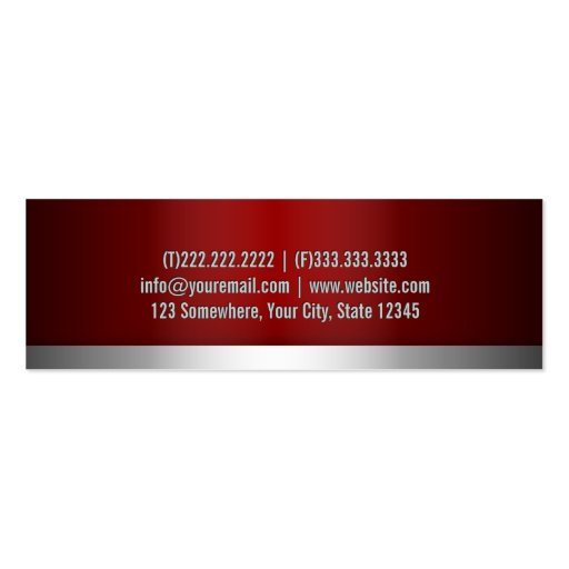 Professional Red Metal Mini Business Card (back side)