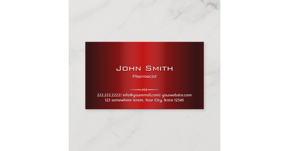 Professional Red Metal Pharmacist Business Card | Zazzle.com