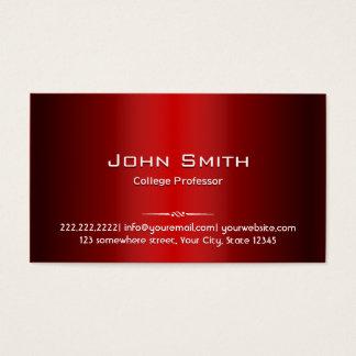 Professional Red Metal Professor Business Card