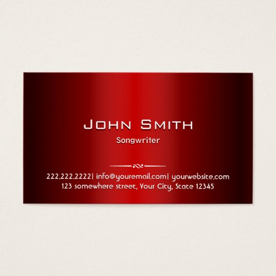Professional Red Metal Songwriter Business Card