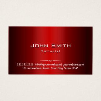 Professional Red Metal Tattoo Art Business Card