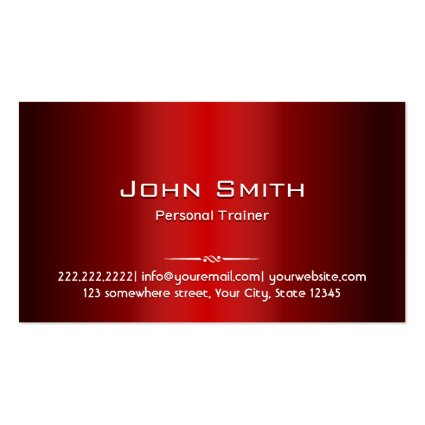 Professional Red Metal Trainer Business Card