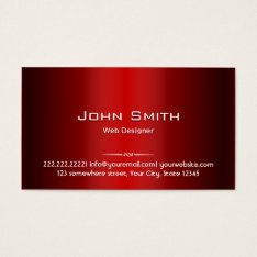 Professional Red Metal Web Design Business Card at Zazzle