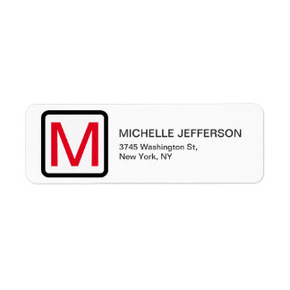 Professional Red White Monogram Modern Plain Label