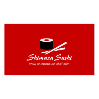 Professional red white sushi chef business card pack of standard business cards