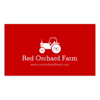 Professional red white tractor farm business card