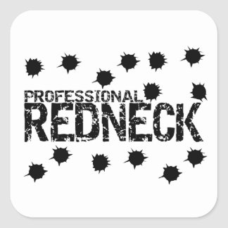 Professional Redneck Bullet Hole Square Sticker