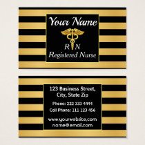 Professional Registered Nurse Gold And Black Business Card