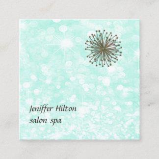 Professional romantic glamorous glittery dandelion square business card