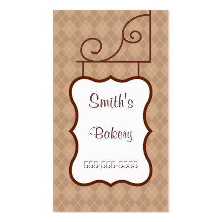 Brown Plaid Background Bakery Store Sign Business Cards