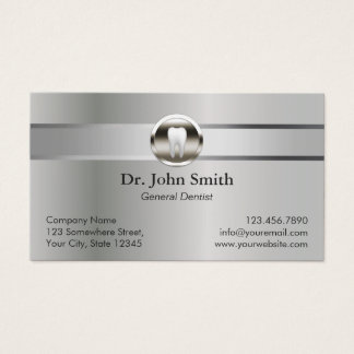 Professional Silver Metal Dental Appointment Business Card