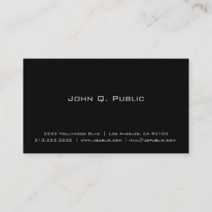 professional simple elegant plain black business card