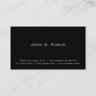 Professional Simple Elegant Plain Black Business Card