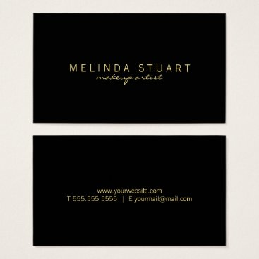 manadesignco Professional Simple Modern Black and Gold Business Card