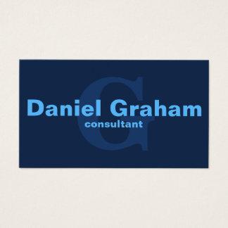 Professional Simple Modern Plain Blue Monogram Business Card