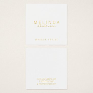 manadesignco Professional Simple Modern White and Gold Square Business Card