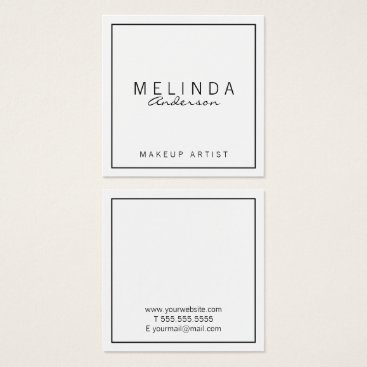 manadesignco Professional Simple Modern White Square Business Card