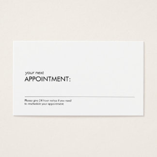 Professional Simple White Appointment Reminder 2 Business Card